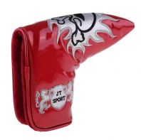 Homyl Golf Blade Putter Head Cover Headcover & Cool Funny Skull Pattern, Magnetic Bar Closure - RED