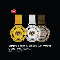 Unique 2 Tone Diamond Cut Medal MM-102AD