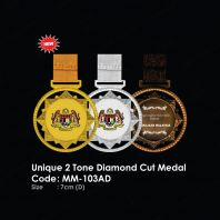 Unique 2 Tone Diamond Cut Medal MM-103AD
