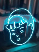 Boy's head blue LED neon light3