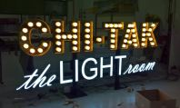 3D Lettering gold stainless steel box up with LED bulb