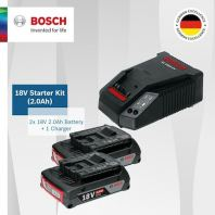 Bosch 18V 2.0AH Starter Kit. 2 x Li-ion 18V Batteries and 1 x Fast Charger AL1860