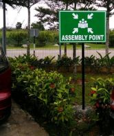 assembly point signboard /ppe sign /rack aluminum holder/rack numbering code sign n infomation board (click for more detail)