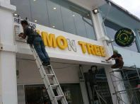 franchise n branding sign with 3d lighter lettering