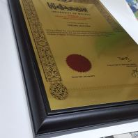 plaque certificate in gold plated