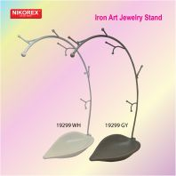 19299 WH GY Iron Art Jewelry Stand