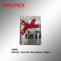 639106 - Twist Tie 10cm (Silver) 100pcs