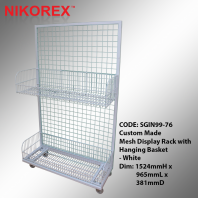 SGIN99-76 - Mesh Display Rack with Hanging Basket