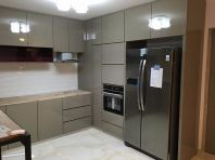 Kitchen cabinet with laminated ABS door panel
