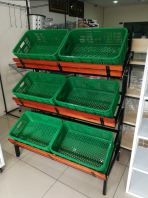 wooden vegetable rack c/w 6 basket