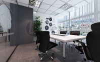 Simple & minimalist meeting room with wall sticker.