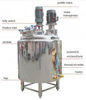 DOUBLE JACKETED ENCLOSED HEATING MIXING & HOMOGENIZING VACUUM STAINLESS STEEL TANK (CODE: 1080)