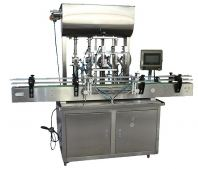 FULLY AUTOMATIC LINEAR TYPE FOUR NOZZLE LIQUID AND PASTE FILLING MACHINE