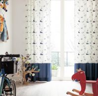 Double layer curtains with design