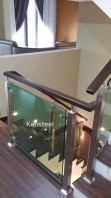 Wood handrail Glass Staircase 3