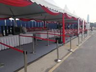 Silver Queue Up Stand with Retractable Belt Red