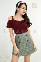 6466 BUTTON PLAID SKIRT