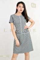 19067 PLUS SIZE CONTRAST PLAID DRESS