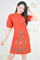 63162 EMBROIDERED PUFF SLEEVE DRESS