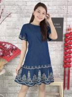 81628 Denim Sleeved Dress