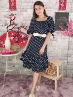 20961 Polkadot Flutter Hem Sleeved Dress