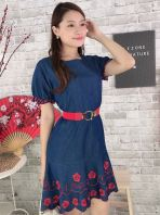 81629 Plus Size Denim Embroided Sleeved Dress