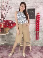 769159 Plus Size Front Zip Pocket Culotte