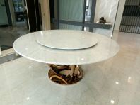 White Marble Dining Table - Arabescato Piana Marble