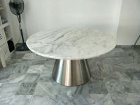White Marble Dining Table - Statuario Marble