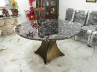 Modern Marble Dining Table - Black Marble Marrone