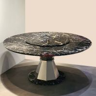 8 Seater Black Round Marble Table