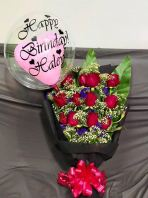 Rose Bouquet with Custom Baloon HB1060 floristkl