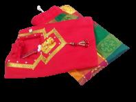 READY MADE PADDU PAVADAI SADDE WITH SILK LONG SKIRT & BLOUSE FOR SMALL KIDS /GIRLS