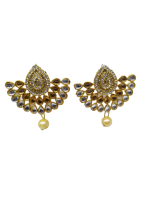 TRADITIONAL GOLD - PLATED LONG PEARL KUNDAN ETHNIC ANTIQUE EARRINGS