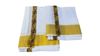 Men's tradisional cotton vesti /dhoti with coloured thread work  border.