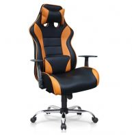 GAMING HIGH BACK CHAIR 1 C/W FIXED ARMREST & CHROME METAL BASE