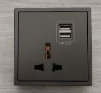 SIMON 70E725 10A UNIVERSAL SOCKET OUTLET WITH DOUBLE USB (5V2A) (GRAPHITE BLACK)