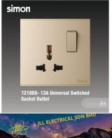 Simon SWITCH 721089-46 E6 Series 13A Universal Switched Socket Outlet (Champagne)