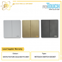reTOUCH ULTRA RIMLESS WHITE SERIES 2 GANG 2 WAY 16A SWITCHES M022W