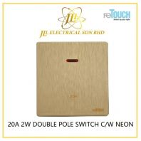 RETOUCH ULTRA RIMLESS TEXTURE GOLD SERIES ULTRA 20A 2W DOUBLE-POLE SWITCH C/W NEON M20A2G