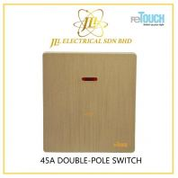 reTOUCH ULTRA RIMLESS TEXTURE GOLD SERIES 45A 2V DOUBLE-POLE SWITCH C/W NEON M45A2G