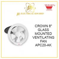 "CROWN 8"" GLASS MOUNTED VENTILATING FAN APC20-AK"