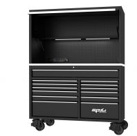 "59"" USA SUMO SERIES ROLLER CABINET & POWER TOP HUTCH COMBO - BLACK/CHROME SP44740"