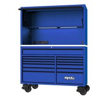 "59"" USA SUMO SERIES ROLLER CABINET & POWER TOP HUTCH COMBO - BLUE/BLACK SP44740BL"