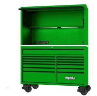 "SP TOOLS 59"" USA SUMO SERIES ROLLER CABINET & POWER TOP HUTCH COMBO - GREEN/BLACK SP44740G"