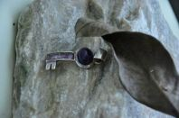 Amethyst Pendant 1.5'' Key Purple Sterling Silver