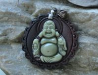 Jade Pendant 2.5'' Laughing Buddha Green Brown
