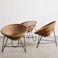 RATTAN + METAL LOUNGE CHAIR BIG BOWL