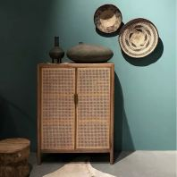 WOODEN CABINET WITH RATTAN NETTING