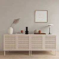 WOODEN SIDEBOARD ROMEO (WITH RATTAN NETTING)